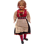 1920 - 1930s Celluloid and Cloth Norwegian Travel Doll