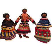 1920s Seminole Palmetto Doll Native American Indian Family dressed in Traditional Patchwork