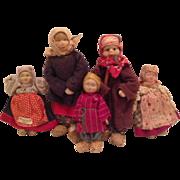 5 Early 1920s Cloth Soviet Villager Dolls