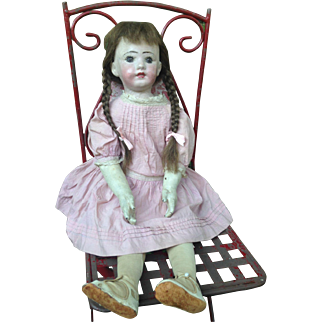Rare Museum Quality Life Size Rollinson Cloth Doll with Separate Fingers, Painted Open Mouth, Teeth, Original Human Hair