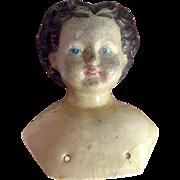 19th C Papier Mache Doll ShoulderHead