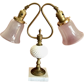 Brass and milk glass Table Lamp  ca 1945