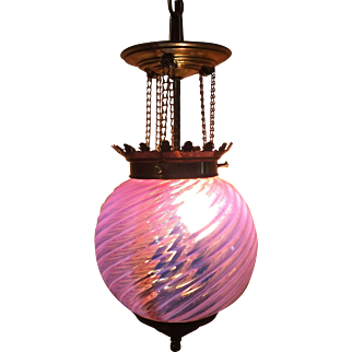 Antique Cranberry Swirl Adjustable Hanging Lamp