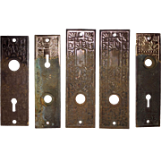Five Antique Eastlake Door Plates