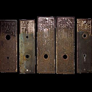 Five Antique Eastlake Door Plates