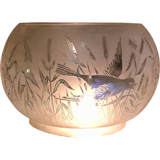 """Antique Etched Glass 5"""" Gas Shade With Birds, Cattails & Butterflies"""