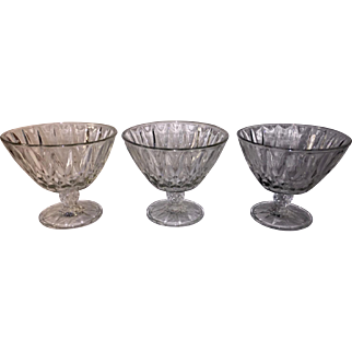 Three Matching Pressed Glass Footed Bowls