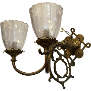 Victorian Solid Brass Unusual Double Sconce With Etched Shades