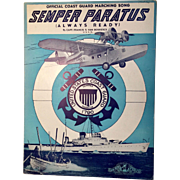 "US Coast Guard Sheet Music ""Semper Paratus"" 1928 - Seaplane & Warship Images"