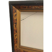 Antique Picture Painting Frame Victorian Art Nouveau Hand Painted Lilly