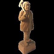 Vintage Wood Carving Wooden Folk Art Hovington Woodsman Lumberjack Quebec Hand Carved Figurine Statue