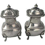 Vintage Silverplate Salt and Pepper Shakers Pots Barker Bros Lions Head & Paw Feet