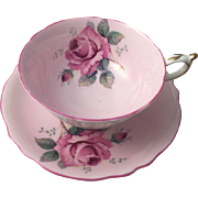 Vintage Paragon Cabbage Rose Tea Cup and Saucer Pink Trim Double Warrant England Fine Bone China