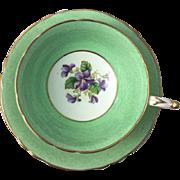 Vintage Paragon Tea Cup and Saucer China England Purple Violets Flower Gold Green Fine Bone