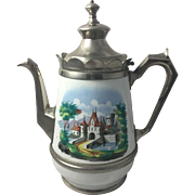 Antique Graniteware Coffee Pot Castle Scene 1880 Enamelware Tea Kitchenalia Enamel Teapot