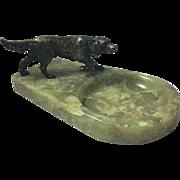 Vide Poche Bronze Labrador Retriever Dog Onyx Marble Vintage Art Deco