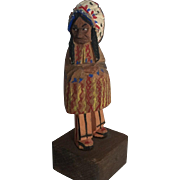 Vintage Trygg Jr Wood Carving Folk Art Statue Figure Wooden Indian Chief Figure Carved Figurine Painted Primitive Country