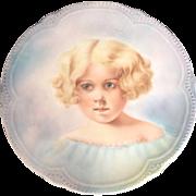 Antique Hand Painted Portrait Cabinet Plate Victorian Art Nouveau Porcelain