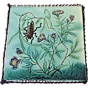Antique Majolica Pottery Tile Trivet 1880 Aesthetic Movement Victorian Turquoise Pot Holder Art Nouveau