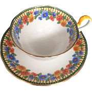 Vintage Aynsley Tea Cup & Saucer Bone China England Blue Yellow Art Deco Floral Pattern