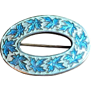 Antique Sterling Silver Souvenir Brooch Enameled Art Nouveau Arts and Crafts Movement .925 Richard Hemsley Montreal Quebec Jewelry Pin