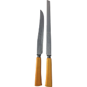 2 Vintage Knives Butterscotch Bakelite Handles Flatware Silverware Art Deco Kitchenalia Utensil Carving Bread Knife