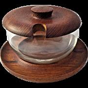 ESA Denmark Teak Wood Mid Century Danish Modern Treen Covered Condiment Serving Dish