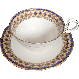 Aynsley Cup & Saucer Fine Bone China England Blue Gold Diamond Vintage Art Deco