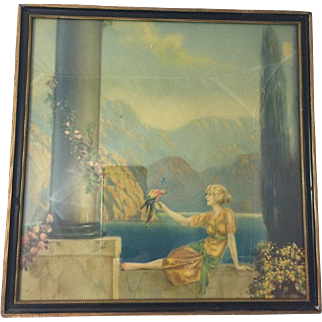 "R Atkinson Fox ""Romance Canyon"" Vintage Art Deco Fantasy Type Framed Print"