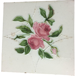 Antique English Majolica Pottery Tile Cabbage Rose Art Nouveau Victorian England