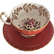 Vintage Aynsley Cup Saucer China England Floral Gold Salmon Flowers Coffee Tea