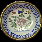 Antique Blue & White Pottery Dish Brass Covered Bird Chinese Export Butter Pat Open Salt