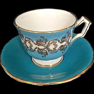 Aynsley Vintage Cup & Saucer Turquoise Blue Gold Design Fine Bone China England