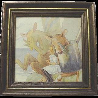 Vintage 1928 Alice in Wonderland Book Plate Wood Framed Art Print