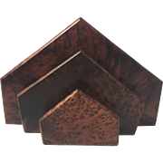 Vintage Burled Wood Letter Holder Rack Art Deco Geometric Skyscraper Design Desk Organizer