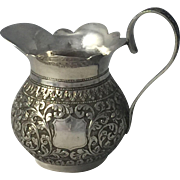 Antique Anglo Indian Solid Silver Cream Pitcher Raj Period c1890