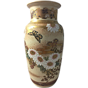 "Antique Japanese Satsuma Meiji 8"" Moriage Gilt Art Pottery Vase Flowers Butterflies"
