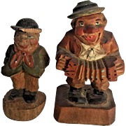 Folk Art Wood Carving Anri Wooden Hand Carved Figures Vintage