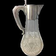 Antique Austro-Hungarian Silver Claret Jug Cut Glass A Bachruch .800 Art Nouveau Jugendstil Secessionist Pitcher