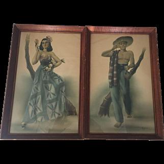 Vintage Mid Century Modern Design Spanish Latino Couple Man Woman Art Prints Pair Telo Lithograph