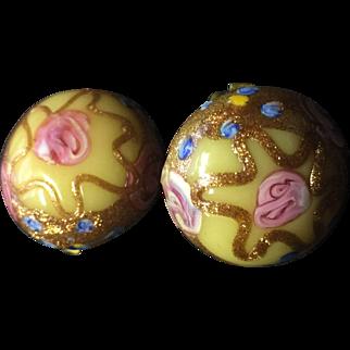 Vintage Venetian Murano Glass Earrings Wedding Cake Aventurine Italy Clip On Yellow Pink Gold Blue