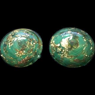 Vintage Venetian Murano Art Glass Earrings Aventurine Italy Clip On Green