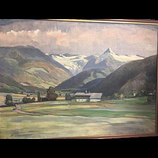 Vintage Oil on Canvas German School Landscape Mountains 1940 Framed Art Painting