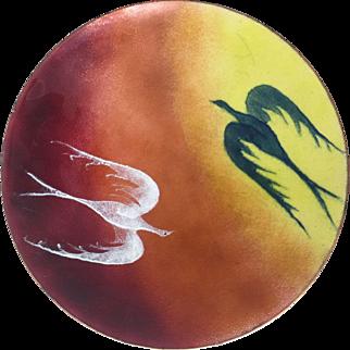 Vintage Mid Century Modern Enamel on Copper Dish Art Phoenix Birds