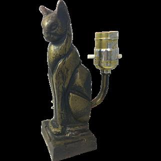 Art Deco Cat Lamp Cast Iron Cubist Cubism Machine Age Vintage Light