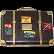 Art Deco Makeup Compact Suitcase Vintage Vanity Mirror Case