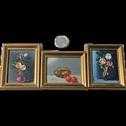 3 Mini Still Life Oil Paintings Vintage Mid Century Art Framed Wood