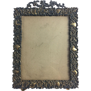 Antique Dore Bronze Picture Frame Easel Back Gold Photo