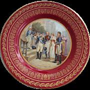 Napoleon Portrait Plate Imperial Crown Porcelain Napoleonic Austria Red Gold Trim Vintage Austrian Cabinet Plate