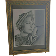 Art Deco Picture Frame Reverse Painting on Glass Brass Bronze Easel Back Vintage
